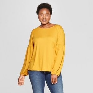 Yellow Long Puff Sleeve Top